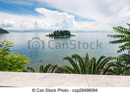 Stock Photographs of Mouse Island, Pontikonissi.