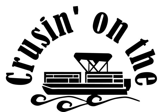 Crusin\' On The Pontoon Window Wall Decal Truck Boat Trailer.