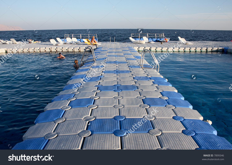 Pontoon Bridge Open Water Swimming Pool Stock Photo 7899346.
