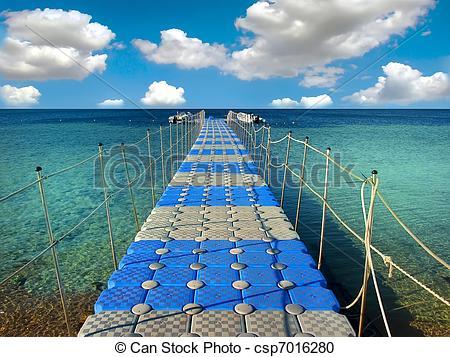Stock Photography of Pontoon bridge in the Red sea. csp7016280.