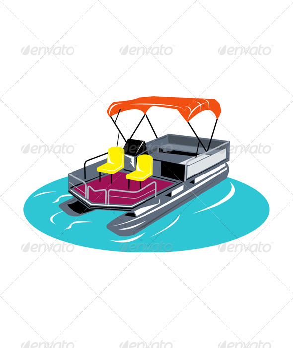 Pontoon Boat Retro by patrimonio.