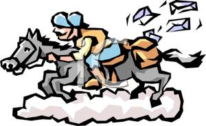 A Colorful Cartoon of a Pony Express Rider.