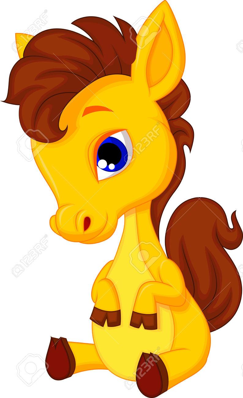 Cute Baby Horse Cartoon Royalty Free Cliparts, Vectors, And Stock.