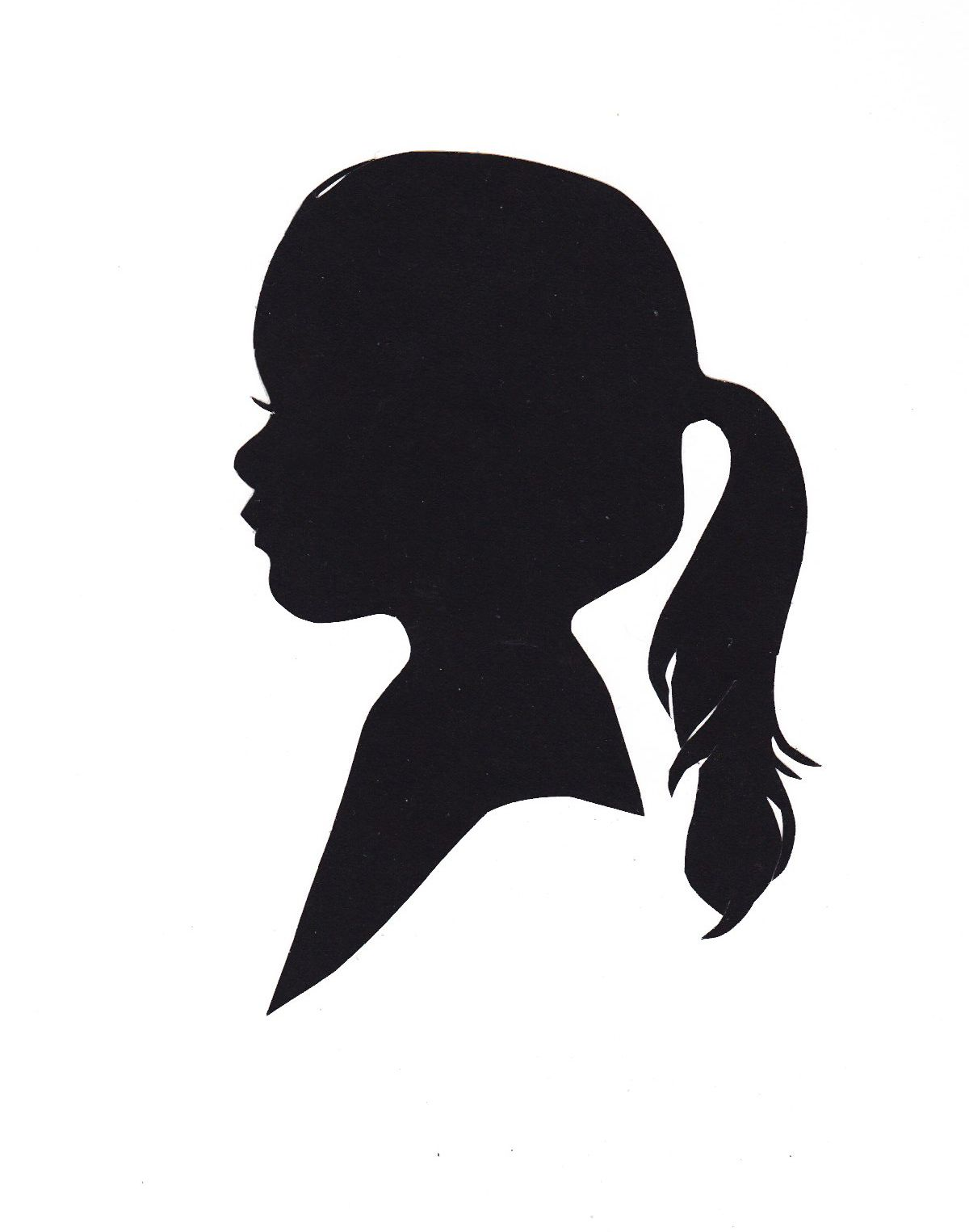 Little Girl With Ponytail Silhouette.