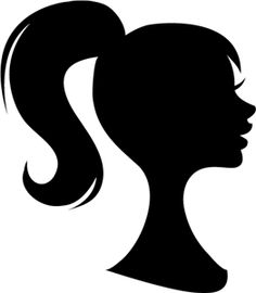 Ponytail Silhouette Clipart.