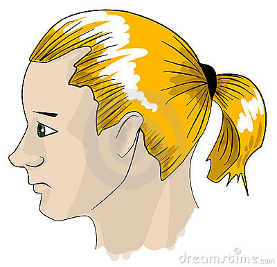 Cartoon man with ponytail clipart.
