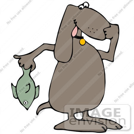 Clip Art Graphic of a Brown Pooch Holding a Stinky Fish.