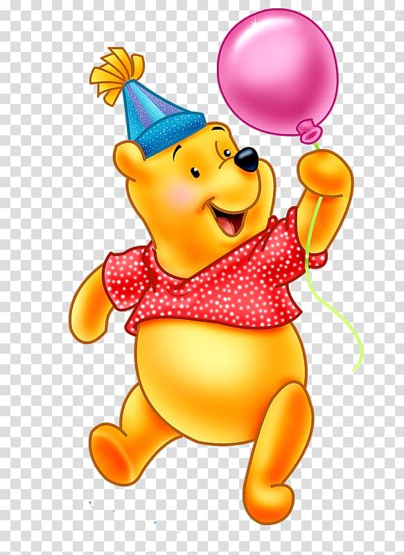 Winnie The Pooh holding pink balloon, Winnie.