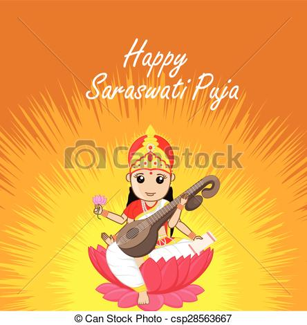Saraswati pooja Clip Art Vector and Illustration. 46 Saraswati.