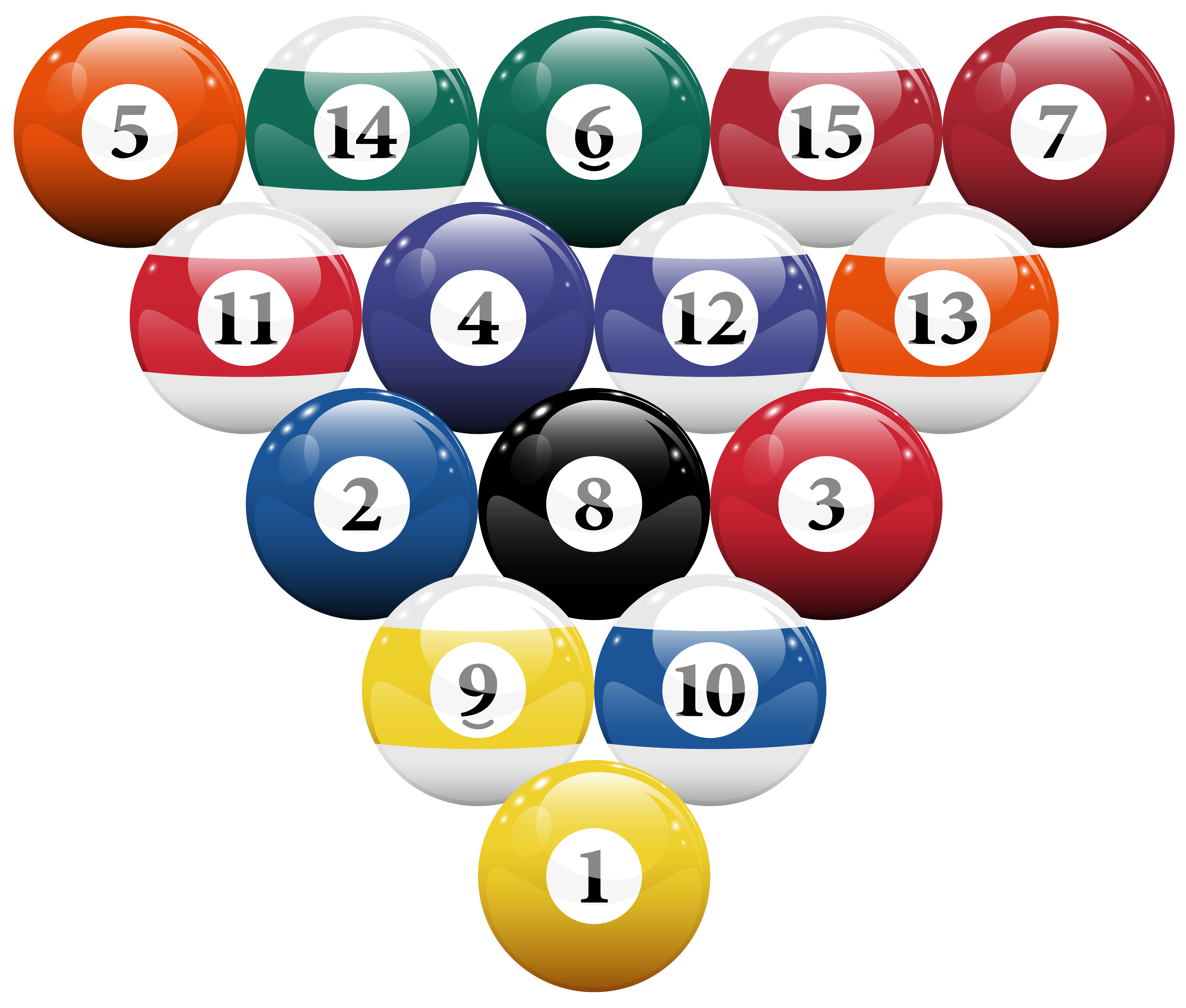 Racked Billiard Pool Balls PNG Clipart.
