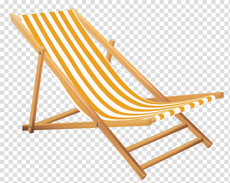 White and yellow striped folding pool chair, Yellow Beach.