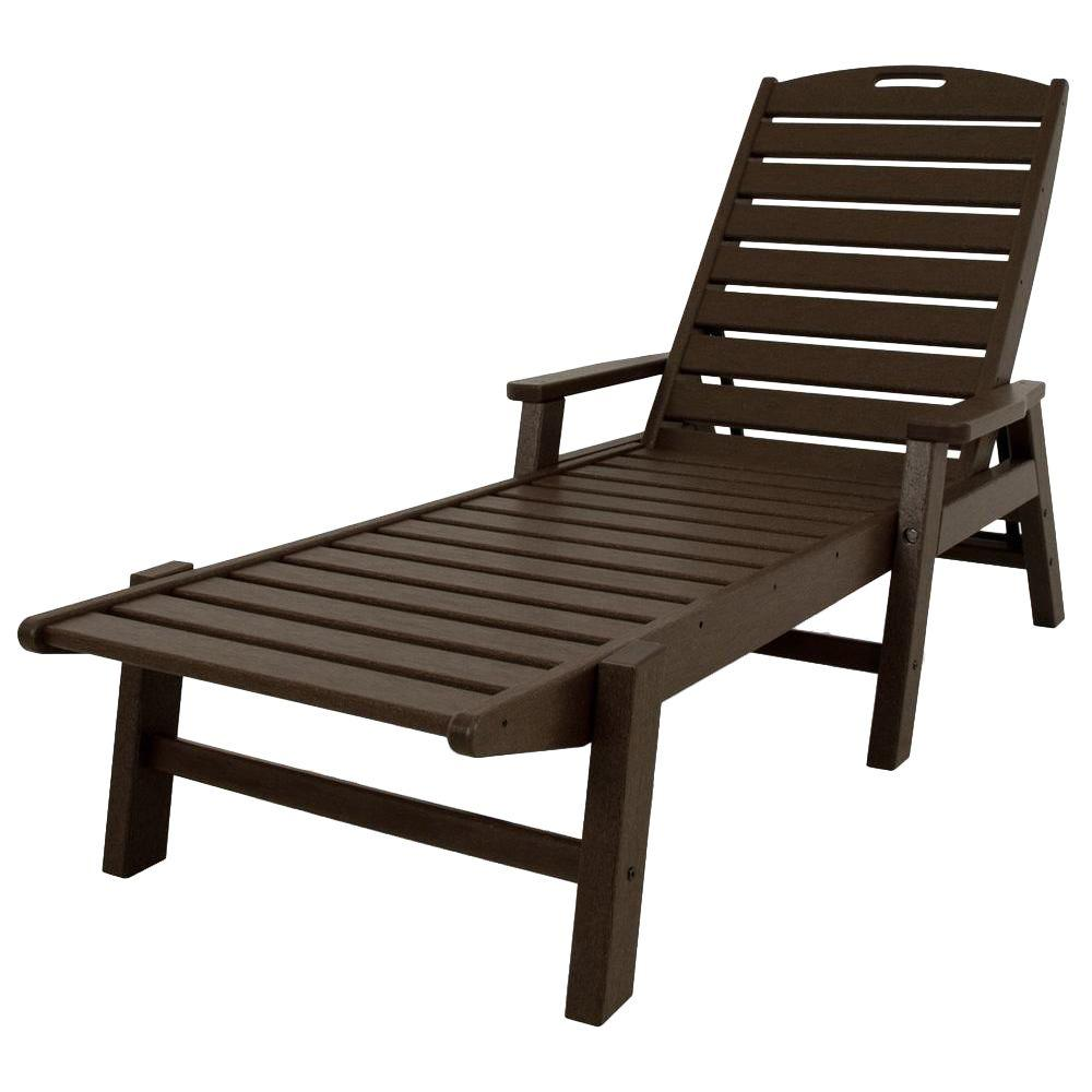 POLYWOOD Nautical Mahogany Stackable Plastic Outdoor Patio Chaise Lounge.