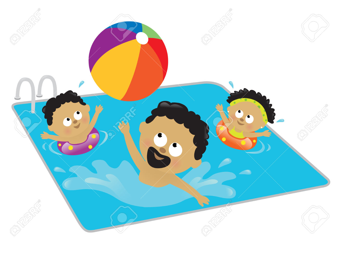 Kids swimming in a pool clipart.