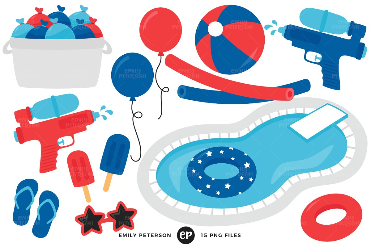 July 4th Pool Party Clipart.