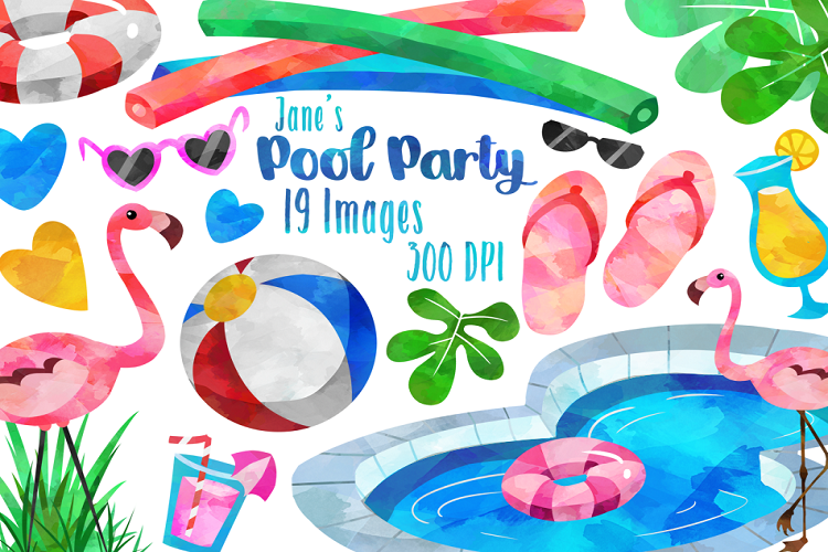 Watercolor Pool Party Clipart.