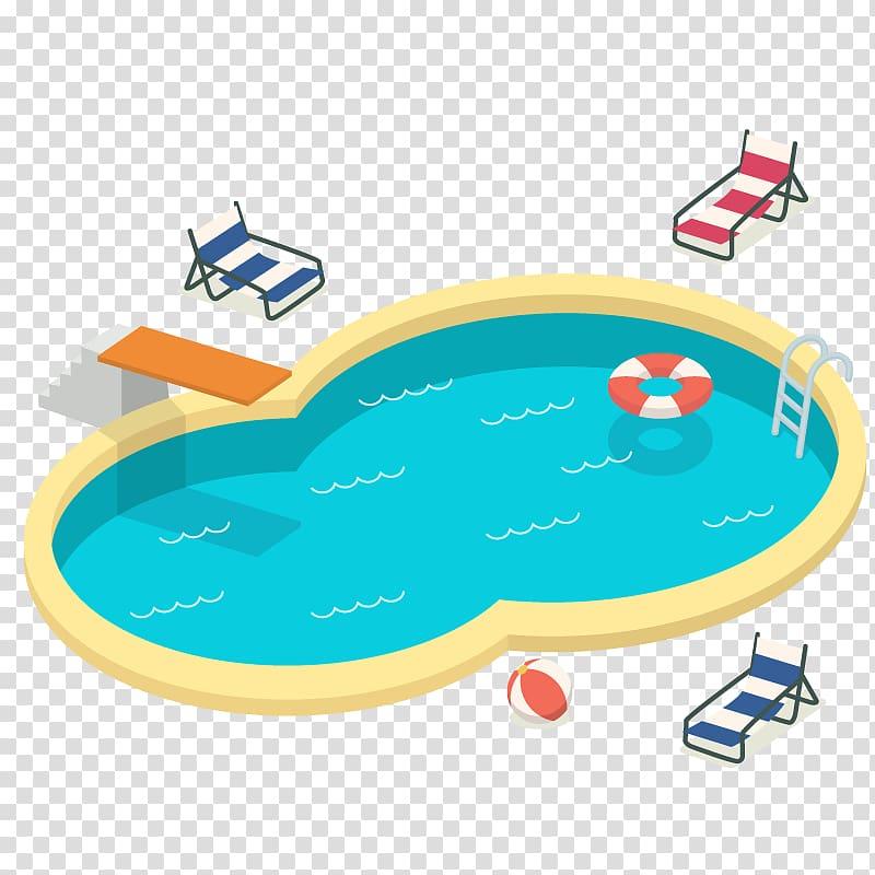 Yellow inground swimming pool sticker, Swimming pool.
