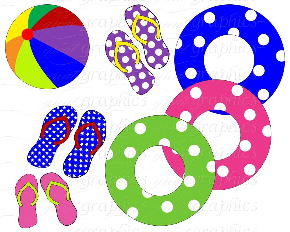 Pool Party Clip Art, Digital Pool Party, Digital Clip Art, Pool Party  Clipart, Swimming Pool, Flip Flops, Instant Download.