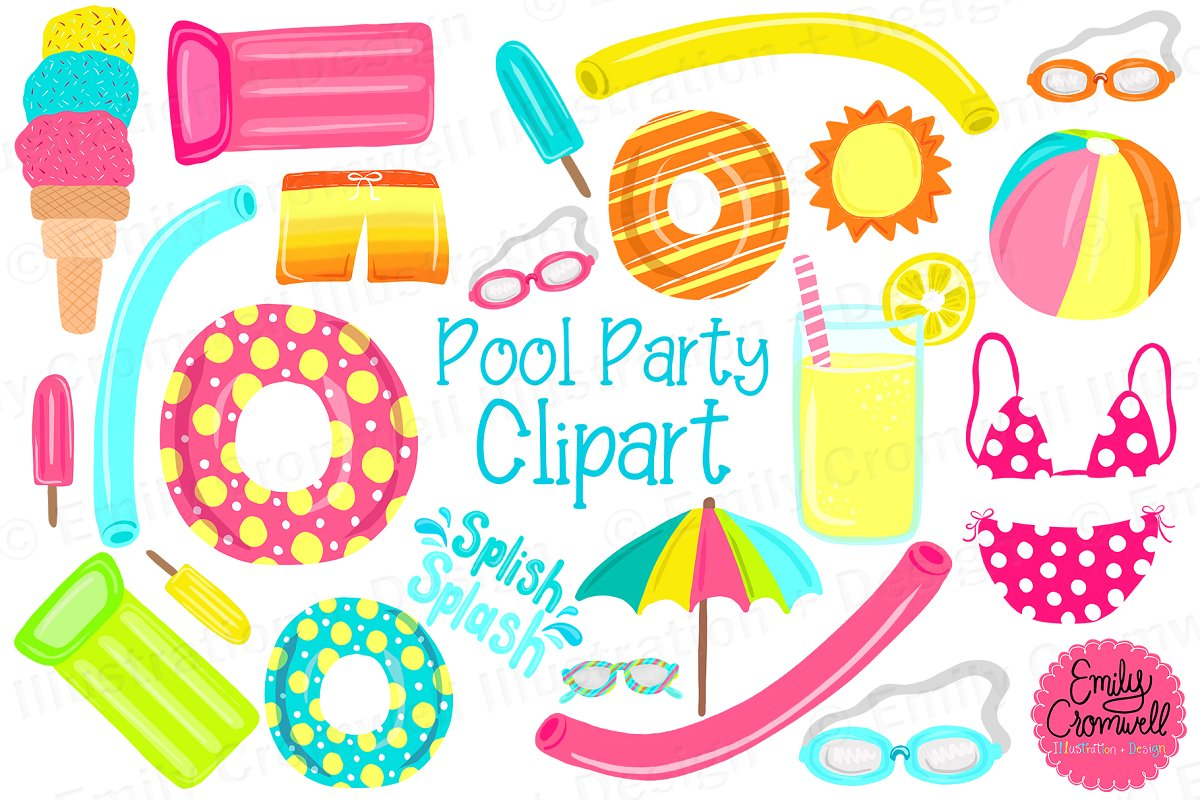 Pool Party Digital Clipart.