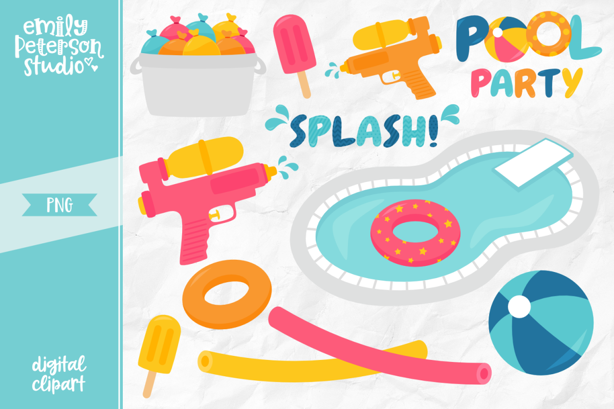 Pool Party Clipart Illustration PNG.