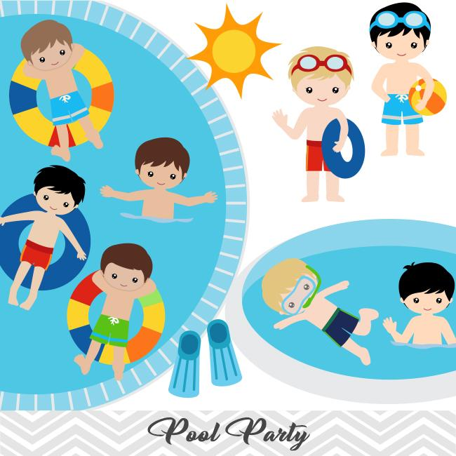 Boys Pool Party Clip Art, Boys Swim Party Clipart, Summer Pool Party  Clipart, 00198.