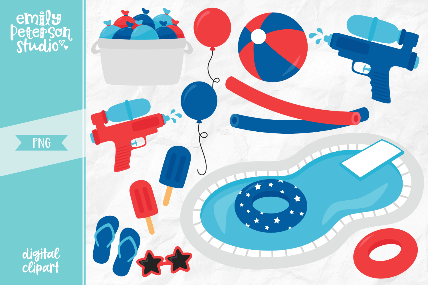 4th of July Pool Party Clipart Illustration PNG.
