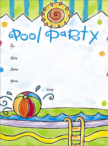 Birthday pool party clipart 2.