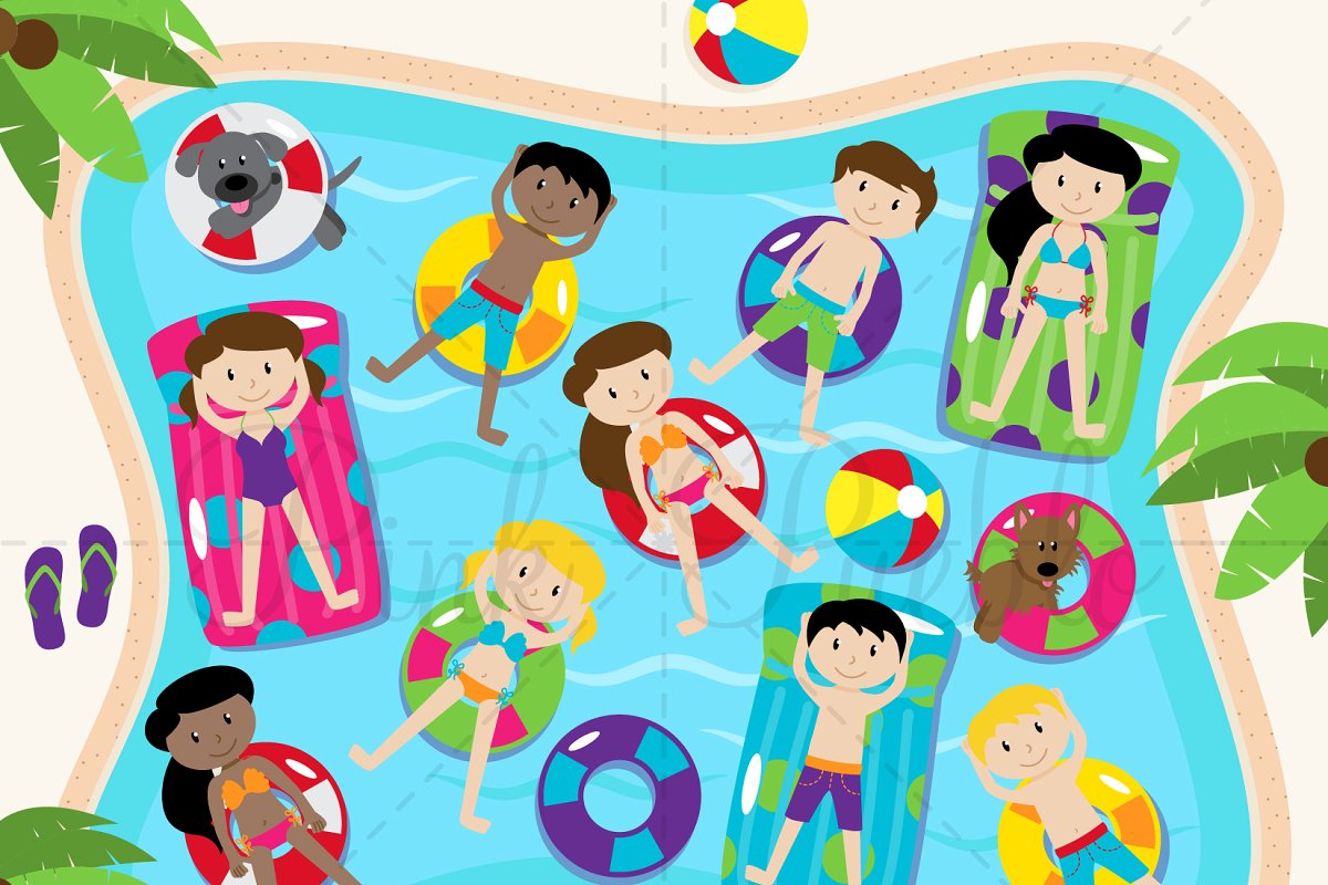 Pool Party Clipart and Vectors.