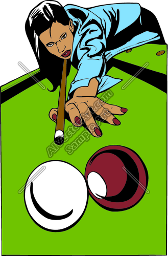 Female Pool Player Billiards Clipart and Vectorart: Misc.