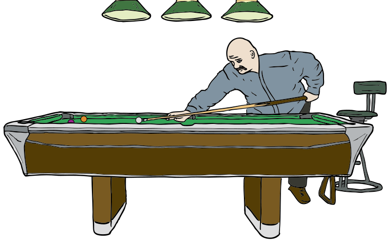 Free Clipart: Pool Table with Player.