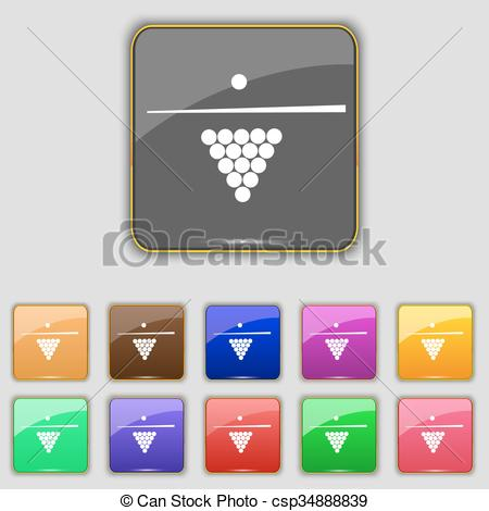 Vectors of Billiard pool game equipment icon sign. Set with eleven.