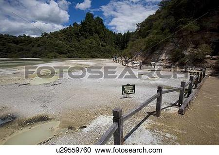 Stock Photography of Champagne Pool at geothermal site, Wai.
