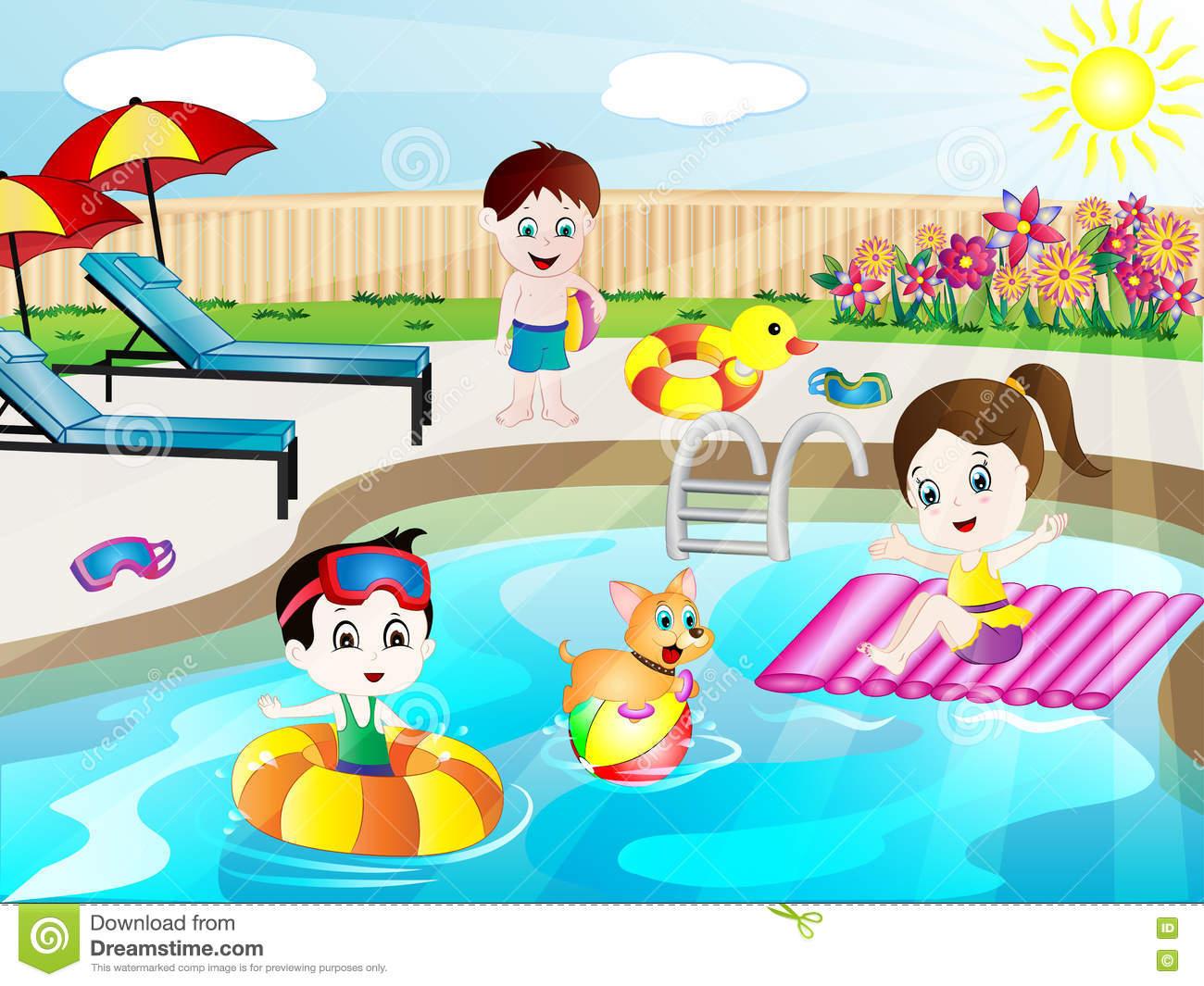 Summer Swimming Pool Fun Vector Illustration Stock Vector.