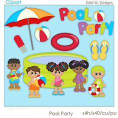 Princess pool clipart / pool princess clipart / pool party clip.