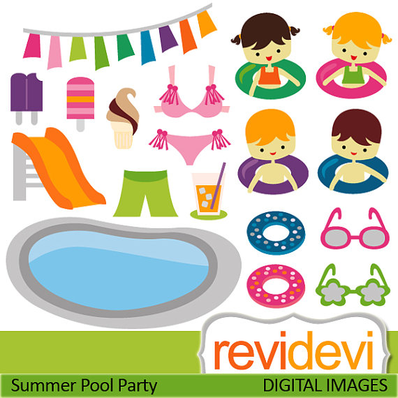 Pool party clipart / Summer Pool Party Clipart.. Commercial use.