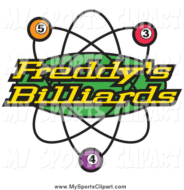 Sports Clip Art of a Freddys Billiards Pool Sign by Andy Nortnik.