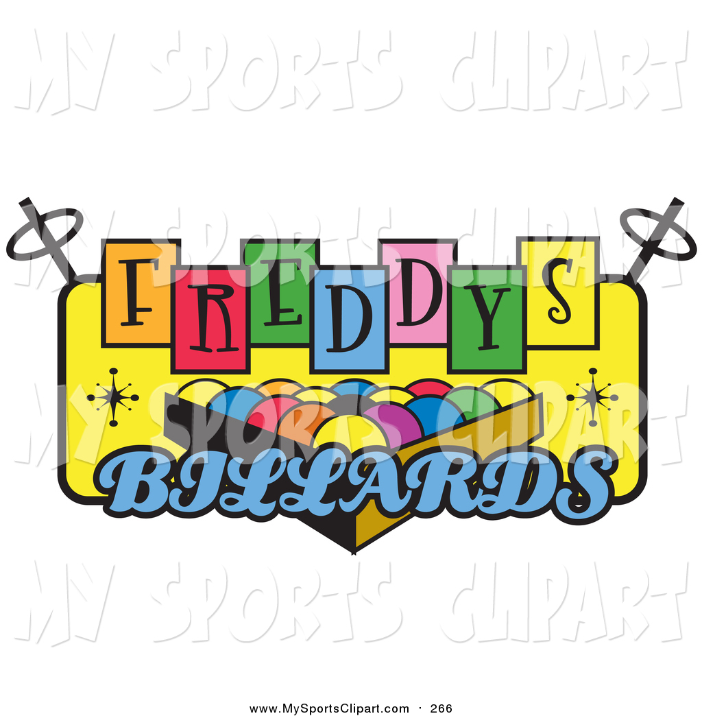 Sports Clip Art of Billiards Pool Balls on a Vintage Colorful.