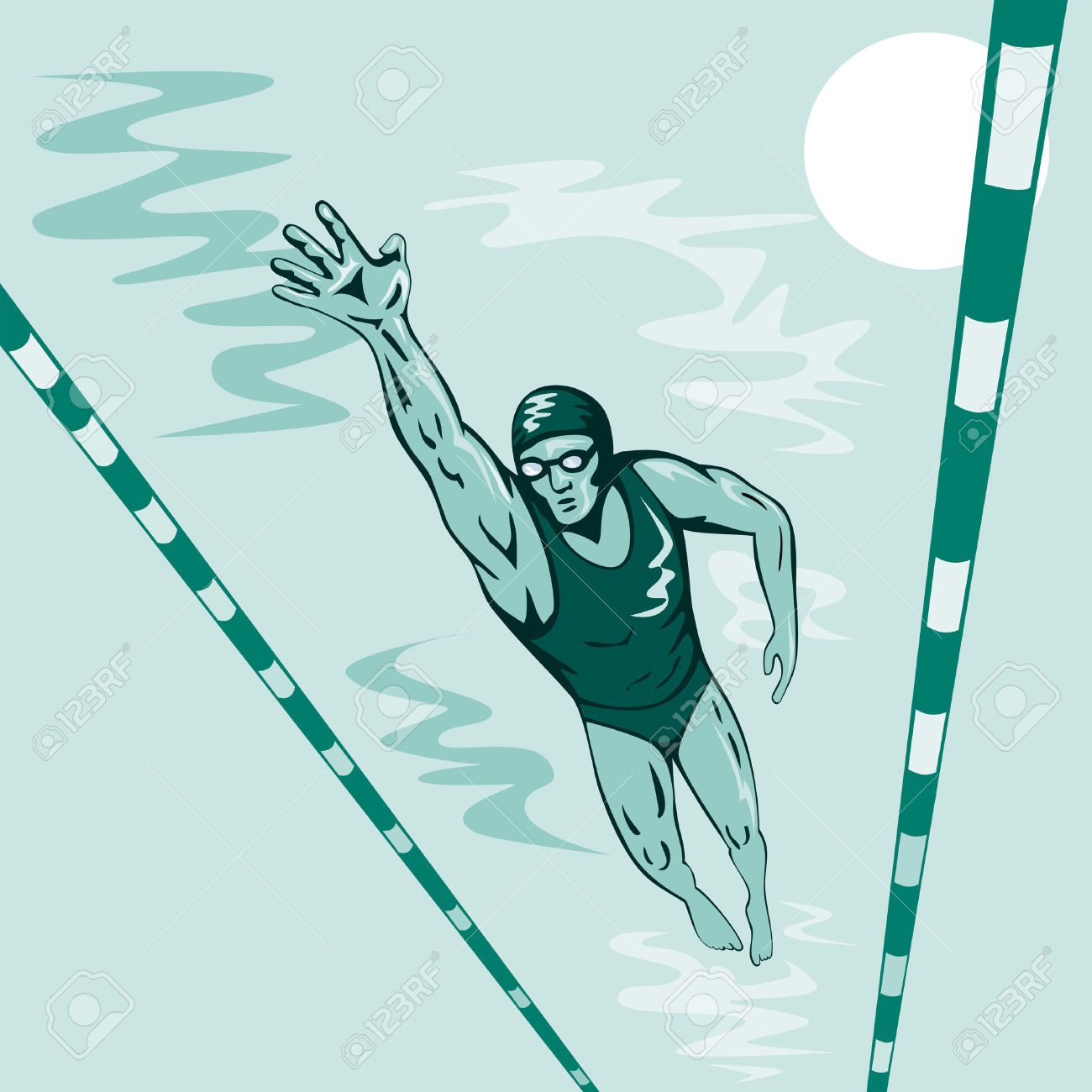 Competitive swimming pool clipart.