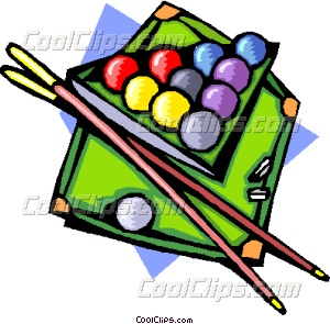 Pool table with ball and cues Vector Clip art.