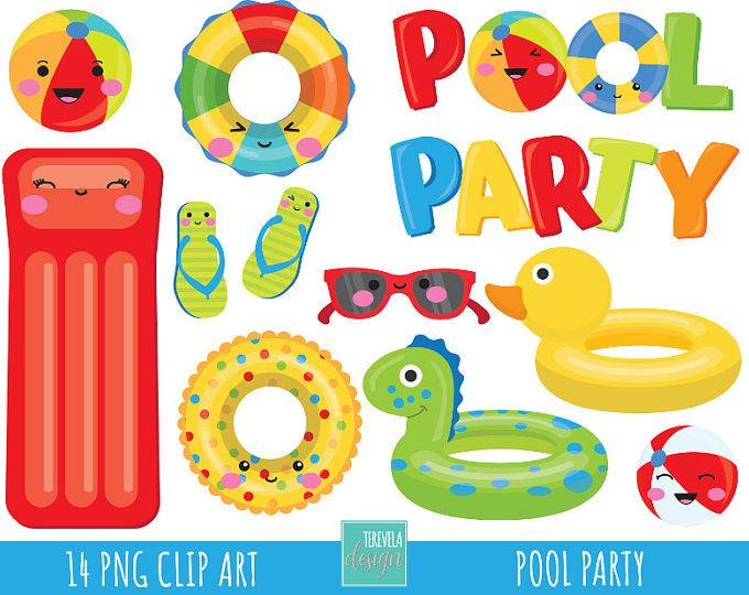 50% SALE pool party clipart, summer clipart, commercial use.