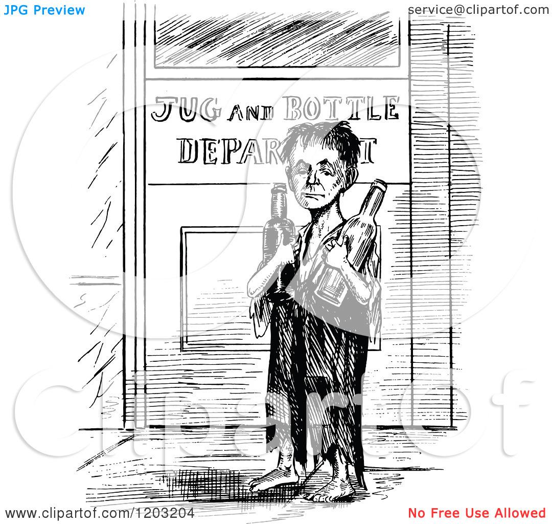 Clipart of a Vintage Black and White Poor Boy Returning Bottles.