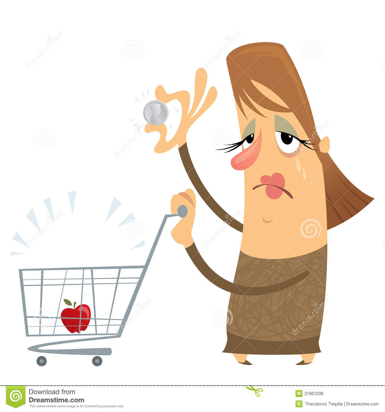 Sad Poor Woman Without Money With An Empty Cart Holding Only One.