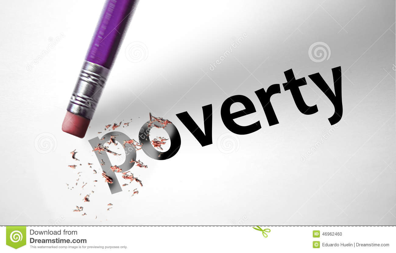 Eraser Deleting The Word Poverty Stock Photo.