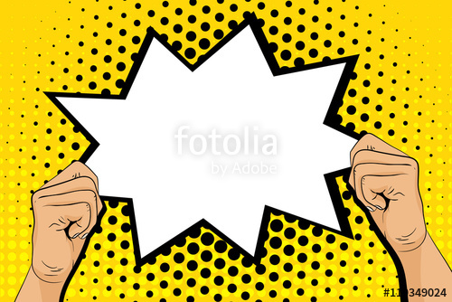 Pop art background with male hands holding speech bubble.