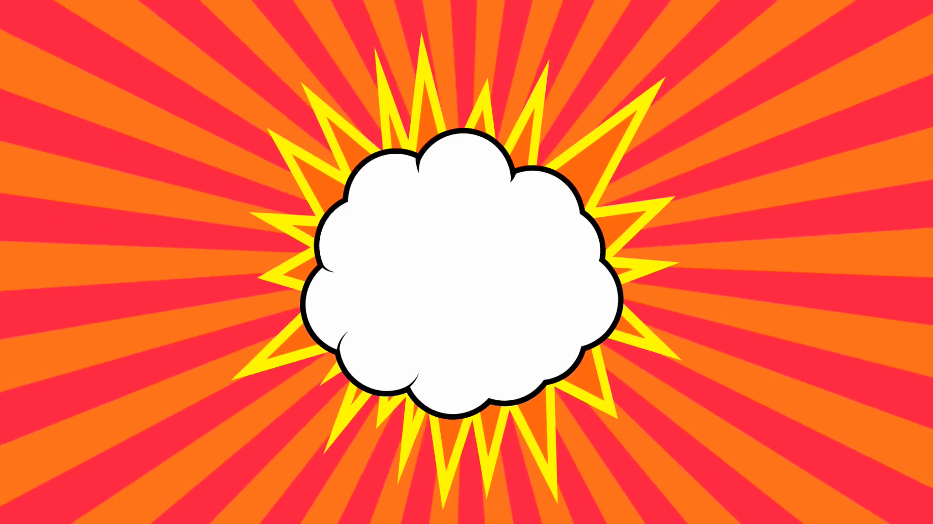 Pop art background animation, HD. Comic style cloud on red background.  Motion Background.