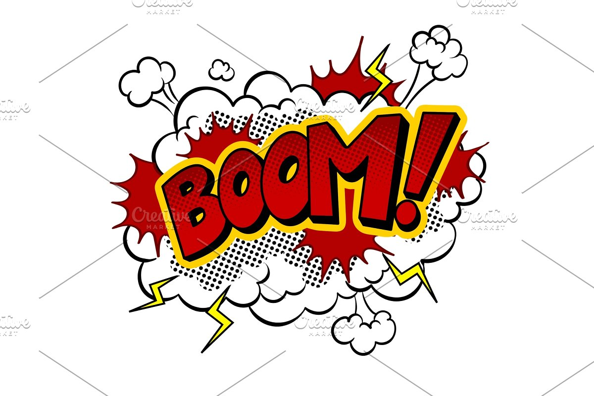 Boom word comic book pop art vector illustration.