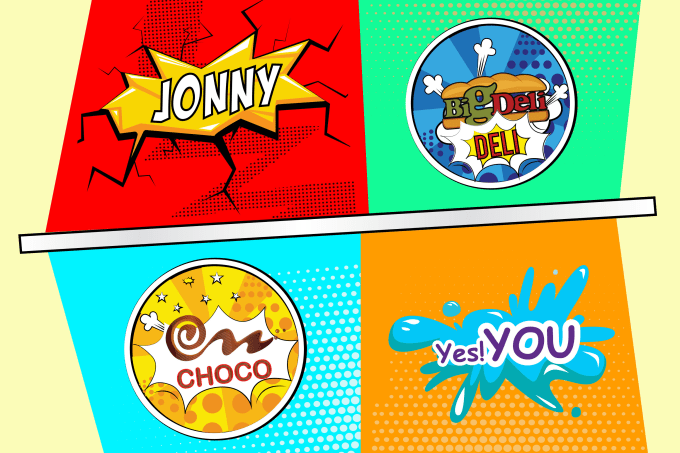 create your text, logo, name, word in pop art style.