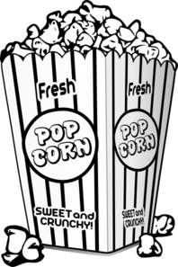 Popcorn Bucket Clipart Black And White.