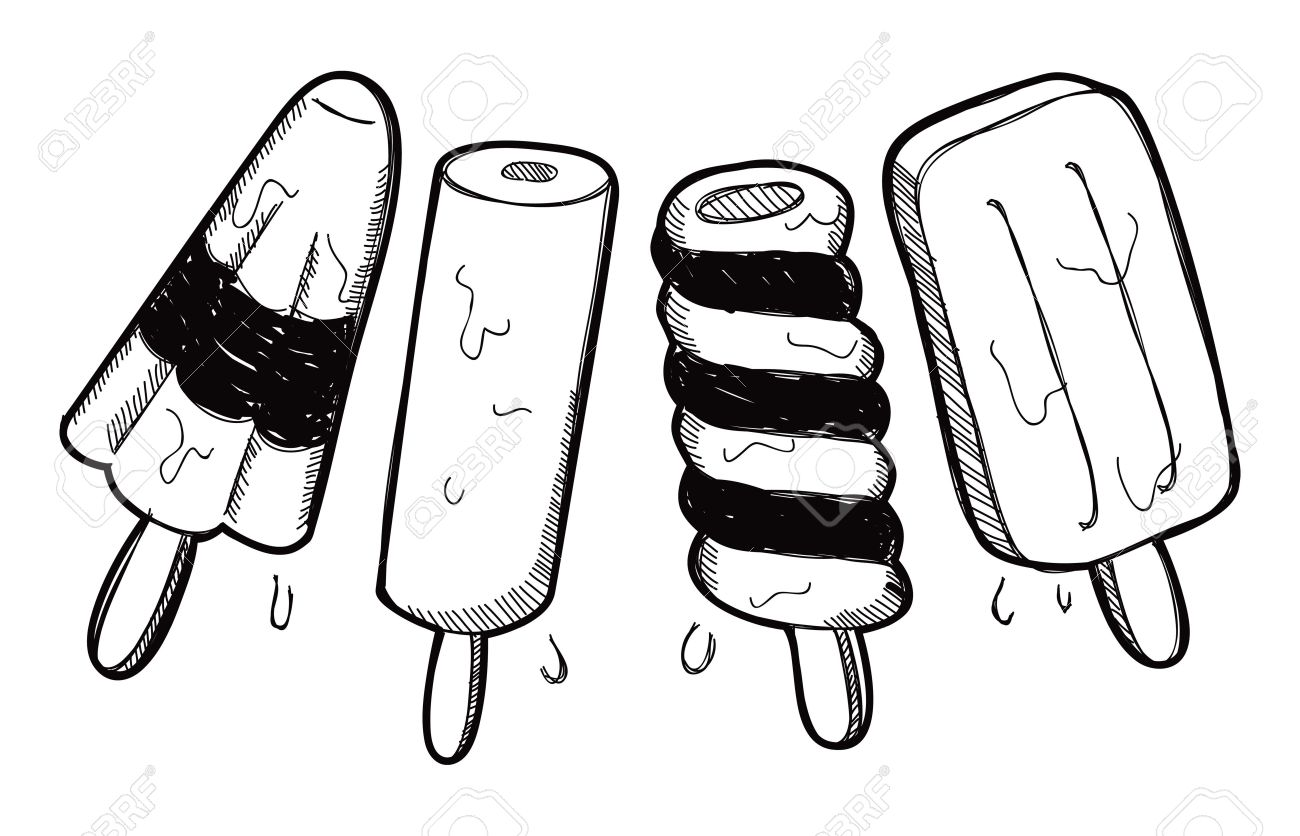 Kulfi clipart black and white.