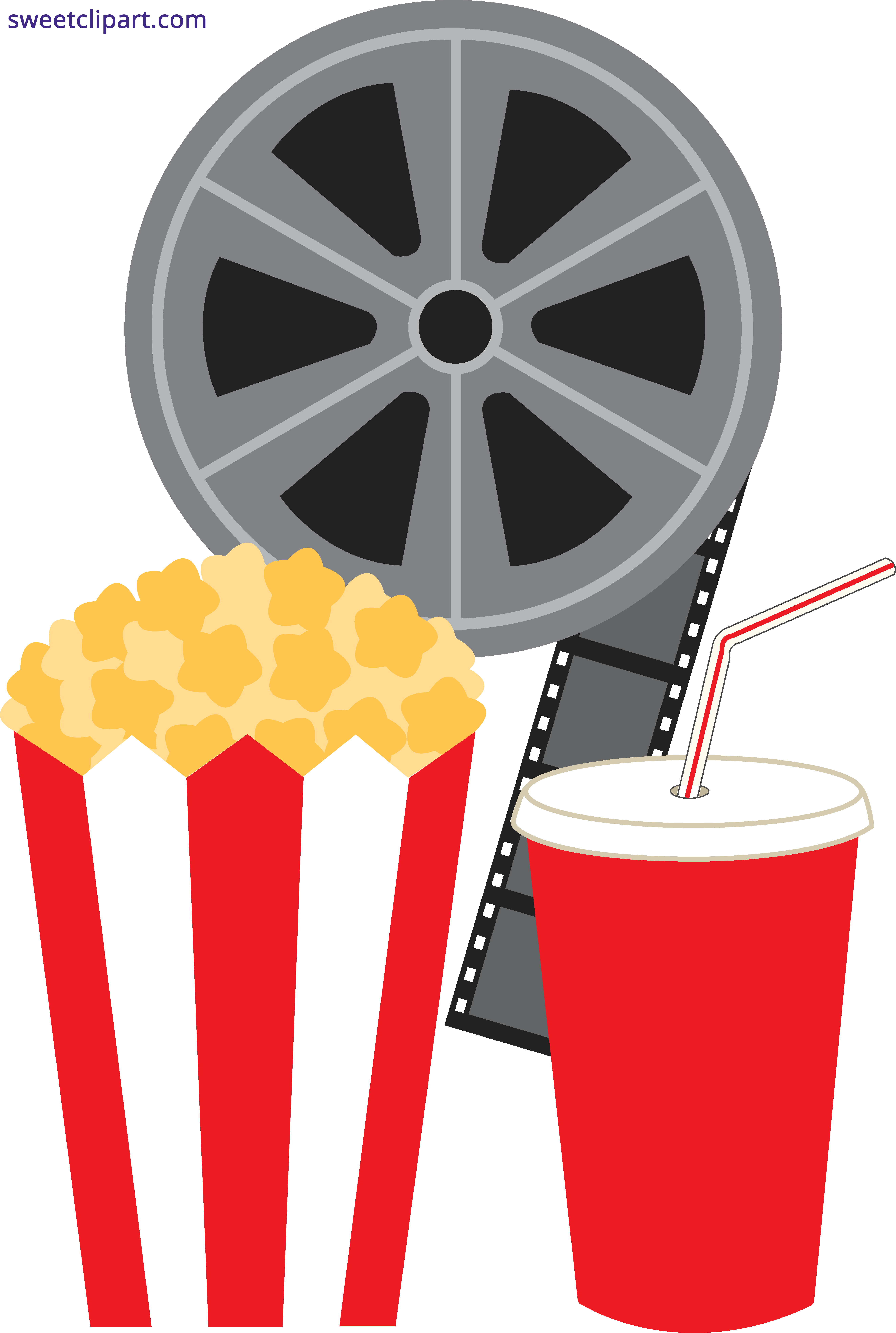 Popcorn Soda and Movie Clipart.