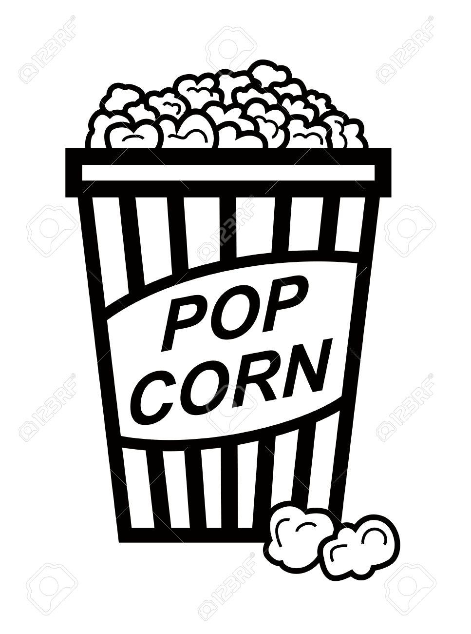 Popcorn clipart black and white Luxury Vector Black Pop Corn.